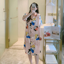 Nightdress Other / other Cartoon Short sleeve pajamas longuette summer Cartoon animation youth Small lapel Polyester (polyester) printing More than 95% Iced silk 200g and below