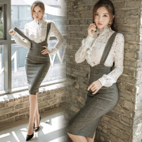 Dress Spring 2021 S,M,L,XL Mid length dress Two piece set Long sleeves commute stand collar High waist Solid color Socket One pace skirt routine straps 18-24 years old Korean version 31% (inclusive) - 50% (inclusive) Lace cotton