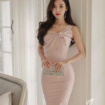 Dress Summer of 2018 Pink S M L XL Middle-skirt singleton  Sleeveless commute Slant collar middle-waisted Solid color zipper One pace skirt other other