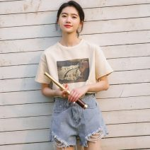 T-shirt Apricot S,M,L Summer 2021 Short sleeve Crew neck easy Regular routine commute cotton 31% (inclusive) - 50% (inclusive) 18-24 years old Korean version character