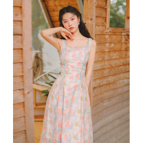 Dress Summer 2021 Decor S,M,L Mid length dress singleton  Sleeveless commute square neck High waist other Socket A-line skirt other straps 18-24 years old Type A literature Embroidery