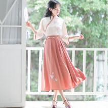 Dress Summer 2021 Top + skirt S,M,L,XL Mid length dress Two piece set elbow sleeve Sweet stand collar High waist Solid color Socket A-line skirt other Others 18-24 years old Type A Embroidery 71% (inclusive) - 80% (inclusive) other other Mori