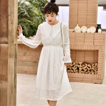 Dress Summer of 2019 White, apricot S,M,L Mid length dress singleton  Long sleeves commute Doll Collar Elastic waist Solid color Socket A-line skirt 18-24 years old Type A Korean version Three dimensional decoration Lace