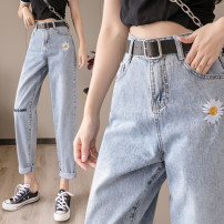 Women's large Spring 2020 wathet Jeans singleton  commute Straight cylinder moderate Korean version Denim Embroidery Ninth pants