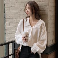 shirt White, black Average size Autumn 2020 other 51% (inclusive) - 70% (inclusive) Long sleeves commute Doll Collar Single row multi button routine Solid color 18-24 years old Straight cylinder Other / other Korean version