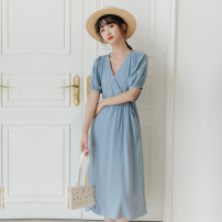 Dress Summer 2020 blue Average size Mid length dress singleton  Short sleeve commute V-neck High waist Solid color Socket other puff sleeve Others 25-29 years old Type A Korean version