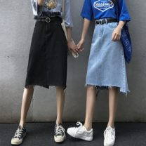 skirt Spring 2020 S,M,L Blue, black and gray Mid length dress commute High waist A-line skirt Solid color Type A 18-24 years old 81% (inclusive) - 90% (inclusive) Denim cotton Korean version 401g / m ^ 2 (inclusive) - 500g / m ^ 2 (inclusive)