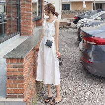 Dress Summer 2021 Black spot, white spot S,M,L Mid length dress singleton  Sleeveless commute square neck High waist Solid color Big swing other straps 18-24 years old Type A Retro 91% (inclusive) - 95% (inclusive)