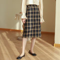 skirt Autumn 2020 S,M,L Green, dark coffee Mid length dress Versatile High waist skirt lattice Type H 25-29 years old More than 95% polyester fiber