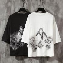 T-shirt Youth fashion White, light gray, black, fruit green, 1 routine M (95-120 Jin), l (120-135 Jin), XL (135-150 Jin), 2XL (150-170 Jin), 3XL (170-185 Jin), 4XL (185-200 Jin), 5XL (200-225 Jin) Others elbow sleeve Crew neck easy Other leisure summer T01 Cotton 100% teenagers Bat sleeve character