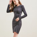Dress Autumn 2020 dark grey S,M,L,XL Middle-skirt singleton  Long sleeves commute Crew neck High waist Solid color zipper One pace skirt routine Others 30-34 years old Type X Simplicity zipper More than 95% other polyester fiber
