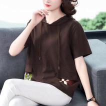 Sweater / sweater Spring 2021 Black, orange, brown M,L,XL,2XL,3XL,4XL Short sleeve routine Socket singleton  routine Hood easy commute routine 40-49 years old 51% (inclusive) - 70% (inclusive) Korean version cotton 1351# Pocket, print
