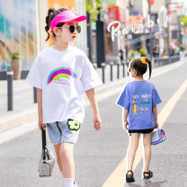 T-shirt Other / other female summer Short sleeve Crew neck Korean version There are models in the real shooting cotton Interesting pattern Cotton 95% other 5% Class B 3, 4, 5, 6, 7, 8, 9, 10, 11, 12, 13, 14, 14 and above easy White, blue 110cm, 120cm, 130cm, 140cm, 150cm, 160cm, 170 (mom size)