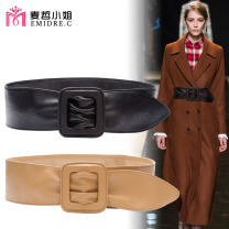 Belt / belt / chain top layer leather Brown Khaki red black female Waistband Versatile Single loop Young and middle aged Smooth button Leather decoration soft surface 7.5cm alloy alone Emidre. C / Ms. Maizhe DL485 Spring 2020 no