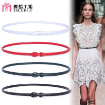 Belt / belt / chain top layer leather female belt Versatile Single loop Young and middle aged Pin buckle Glossy surface Glossy surface 1cm alone Emidre. C / Ms. Maizhe Summer 2020