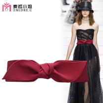 Belt / belt / chain Pu (artificial leather) female Waistband grace Single loop Young and middle aged Smooth button bow Glossy surface 6cm The bows are loose and tight Emidre. C / Ms. Maizhe Autumn of 2019