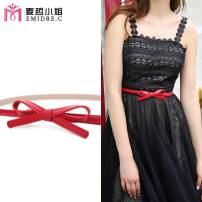 Belt / belt / chain Double skin leather Khaki red belt + red edge black red belt + black edge Pink female belt Sweet Single loop Young and middle aged Smooth button bow Glossy surface 1.3cm alloy bow Emidre. C / Ms. Maizhe DL1010 Autumn and winter 2017 no