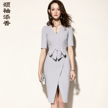 Dress Summer of 2018 light gray S M L XL 2XL Middle-skirt singleton  Short sleeve commute V-neck middle-waisted Socket One pace skirt routine Others 35-39 years old Neck sleeves add fragrance Ol style J8282473A More than 95% polyester fiber Polyester 100% Pure e-commerce (online only)