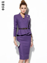 Professional dress suit M L XL XXL Lavender purple goose yellow lake water blue Autumn of 2018 Long sleeves J8303164A Other styles Suit skirt 25-35 years old Neck sleeves add fragrance Viscose (viscose) 56.5% wool 43.5% Pure e-commerce (online only)