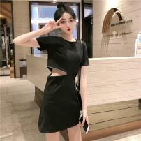 Dress Summer 2021 black M,L,XL,2XL longuette singleton  Short sleeve commute Crew neck Loose waist routine Others 18-24 years old Korean version other