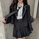 Fashion suit Summer 2021 S,M,L Black coat + pleated skirt + shirt (for tie), grey coat + pleated skirt + shirt (for tie), black coat + plaid skirt, grey coat + plaid skirt, shirt + tie Other / other 81% (inclusive) - 90% (inclusive) nylon