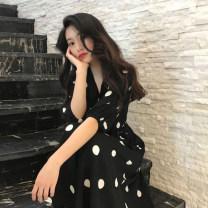 Dress Summer 2020 black S,M,L,XL,2XL Mid length dress singleton  three quarter sleeve commute V-neck High waist Dot Socket A-line skirt routine Retro Splicing 81% (inclusive) - 90% (inclusive) Chiffon nylon