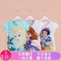 T-shirt Blue, sky blue, lotus root, off white (Ice Queen), pink (Princess Sophia), pink (Anna and Aisha), light pink (Barbie) Shunzhe 110cm,120cm,130cm,140cm,150cm female summer Short sleeve Crew neck princess No model nothing cotton Cartoon animation Class A Sweat absorption Chinese Mainland