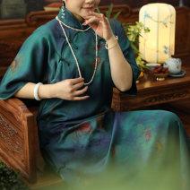cheongsam Spring 2021 S,M,L,XL Blue blue Long sleeves long cheongsam Retro High slit daily Oblique lapel Decor Piping silk