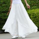 Casual pants S,M,L,XL Spring 2020 trousers Wide leg pants Natural waist Versatile routine 81% (inclusive) - 90% (inclusive) Lotus leaf edge cotton Asymmetry