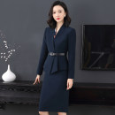 Professional dress suit XS S (spot) m (spot) l (spot) XL (spot) XXL (spot) XXXL (spot) Suit + skirt (with belt) Autumn 2020 Long sleeves W22011# loose coat Suit skirt 25-35 years old Huiduoli New polyester 63% viscose 33% polyurethane elastic 4%