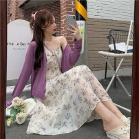 Fashion suit Summer 2021 Average size Purple cardigan, floral suspender skirt 18-25 years old 51% (inclusive) - 70% (inclusive)