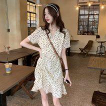 Dress Summer 2021 Apricot Average size Short skirt singleton  Short sleeve commute V-neck High waist Decor zipper routine 25-29 years old Type A Other / other Korean version 1126#