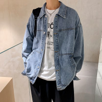 Jacket Other / other Youth fashion blue S. M, l, XL, 2XL, XS plus small routine easy Other leisure spring Long sleeves Wear out Lapel tide teenagers routine Zipper placket 2021 Rubber band hem No iron treatment Loose cuff Solid color Denim cotton 70% (inclusive) - 79% (inclusive)