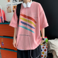 T-shirt Youth fashion White, black, pink routine S. M, l, XL, 2XL, 3XL, 4XL, 5XL, XS plus small Others Short sleeve Crew neck easy Other leisure summer teenagers routine tide 2021 Solid color printing cotton More than 95%