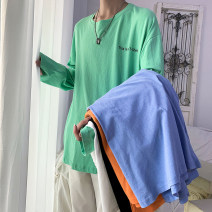 T-shirt other White, black, yellow, green, blue routine S. M, l, XL, 2XL, XS plus small Others Long sleeves Crew neck easy daily spring youth routine Basic public other 2021 Solid color cotton other other Domestic non famous brands More than 95%