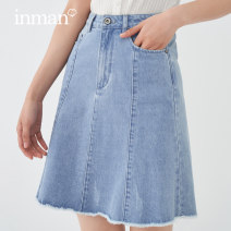 skirt Summer 2021 S M L XL Denim blue light denim Short skirt Versatile High waist A-line skirt Solid color Type A 25-29 years old 181_ TM2044a More than 95% Denim Inman / Inman cotton Button Cotton 100% Same model in shopping mall (sold online and offline)