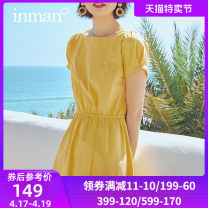 Dress Summer 2021 S M L XL Mid length dress singleton  Short sleeve commute square neck High waist Solid color Single breasted A-line skirt other 25-29 years old Type A Inman  Simplicity More than 95% cotton Cotton 100%