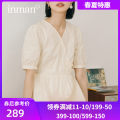 Dress Summer 2021 Plant blue rice apricot S M L Mid length dress singleton  Short sleeve Sweet V-neck High waist Solid color Socket A-line skirt routine 18-24 years old Type A Inman  Button F181_ TM2892a More than 95% other cotton Cotton 100% Countryside