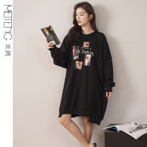 Nightdress Meiteng M L XL Simplicity Long sleeves Leisure home Middle-skirt spring Geometric pattern youth Crew neck cotton printing pure cotton Spring 2021 Cotton 100% Pure e-commerce (online only)