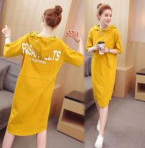 Sweater / sweater Spring of 2018 yellow S,M,L,XL,2XL Short sleeve Medium length Socket singleton  routine Hood Straight cylinder Sweet college