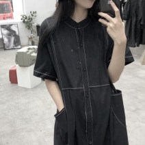 Dress Summer 2020 black Average size Mid length dress singleton  Short sleeve street Crew neck High waist other Single breasted A-line skirt shirt sleeve 18-24 years old Type A 51% (inclusive) - 70% (inclusive) cotton