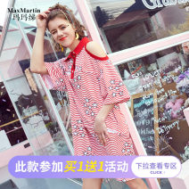 Dress Summer of 2019 Star stripe S M L XL longuette singleton  elbow sleeve street Polo collar Loose waist routine 25-29 years old Type H Max Martin / Mary M95163DC21 91% (inclusive) - 95% (inclusive) cotton Cotton 93% polyurethane elastic fiber (spandex) 7% Europe and America