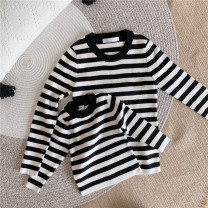 Sweater / sweater 80cm, 90cm, 100cm, 110cm, 120cm, mom s, mom m, Dad s, Dad m, Dad L cotton neutral Ribbon striped parent-child Sweater Navy Blue, Mustang cardigan knitted sweater orange, Mustang Pullover knitted sweater orange, parent-child crew neck striped sweater, banana sweater Other / other