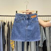 skirt Summer 2021 S,M,L,XL Blue, black Short skirt commute High waist Denim skirt Solid color Type A Denim cotton Pocket, asymmetric, worn, button, zipper, stitching, taping Korean version