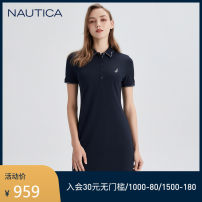 Dress Spring 2021 4nv Navy (211) 6cn Pink (211) S M L XL Middle-skirt singleton  Short sleeve commute Polo collar Loose waist Solid color Socket routine 25-29 years old Type A Nautica / nodica Simplicity 001-12DC02 51% (inclusive) - 70% (inclusive) cotton