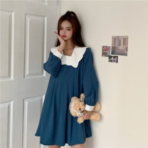 Dress Autumn 2020 Blue, black Average size Middle-skirt Long sleeves commute stand collar Loose waist Solid color A-line skirt routine More than 95% Chiffon