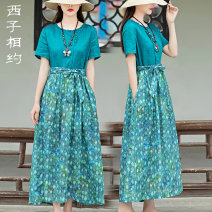 Dress Summer 2021 Green flowers S M L XL Mid length dress singleton  Short sleeve commute Crew neck middle-waisted Broken flowers Socket A-line skirt routine 30-34 years old Type A Xizi meet Retro Three dimensional decorative button print with pleated pocket lace up X2103XS1006 More than 95% hemp