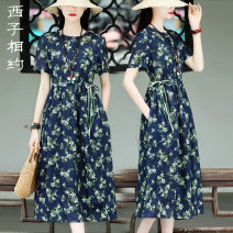 Dress Summer 2021 Broken flowers S M L XL Mid length dress singleton  Short sleeve commute Crew neck middle-waisted Broken flowers Socket A-line skirt routine 30-34 years old Type X Xizi meet Retro Three dimensional decorative button print with pocket lace up X2103XS1022 More than 95% hemp Ramie 100%