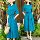 Dress Summer 2021 blue M L XL XXL Mid length dress singleton  Short sleeve commute Crew neck middle-waisted Solid color Socket A-line skirt routine 30-34 years old Type X Xizi meet Retro Three dimensional decorative button with lace up pocket X2104XS518 71% (inclusive) - 80% (inclusive) hemp