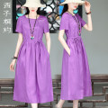 Dress Summer 2021 violet S M L XL Mid length dress singleton  Short sleeve commute Crew neck middle-waisted Solid color Socket A-line skirt routine 30-34 years old Type X Xizi meet Retro Three dimensional decorative button with lace up pocket X2103XS1021 More than 95% hemp Flax 100%